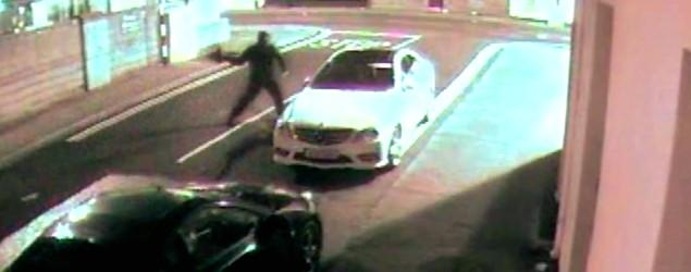 Car thief throws a brick, Mercedes throws it back