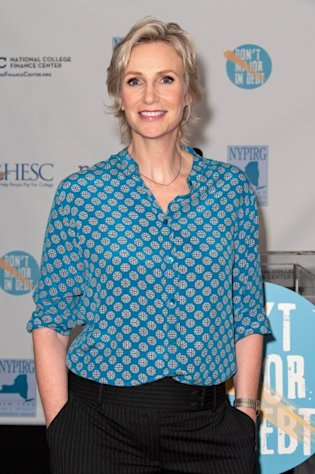 Jane Lynch attends a news conference introducing a website as part of the