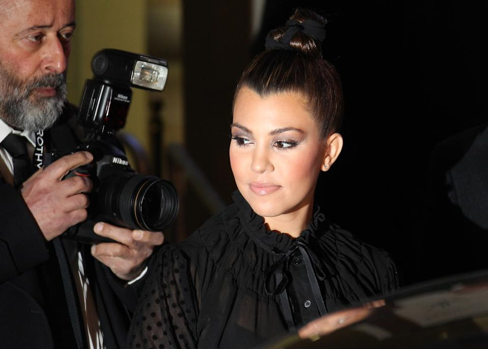 Kourtney Kardashian arrives for their Kardashian Kollection UK Launch at Acqua Club in central London, Thursday, Nov. 8, 2012. (Photo by Joel Ryan/Invision/AP)