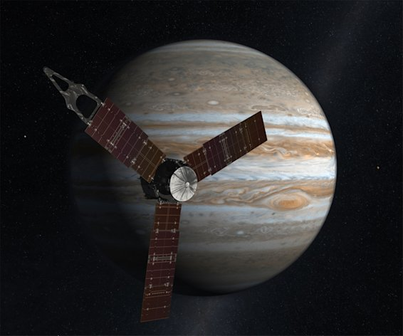 This undated image released by NASA shows an artist rendering of the Juno spacecraft circling Jupiter. The spacecraft planned to fire its engine on Aug. 30, 2012, the first of two engine burns to set it up for an Earth gravity assist next year. It's due to arrive at Jupiter in 2016. (AP Photo/NASA)