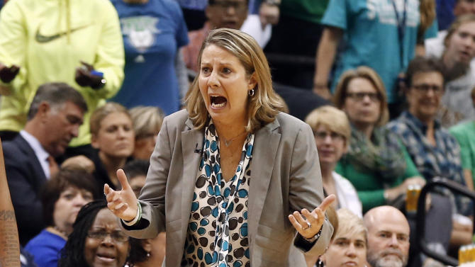 Minnesota Lynx head coach Cheryl Reeve argues a call against the Indiana Fever in the first half of Game 2 of the WNBA basketball finals Tuesday, Oct. 6, 2015, in Minneapolis. (AP Photo/Jim Mone)