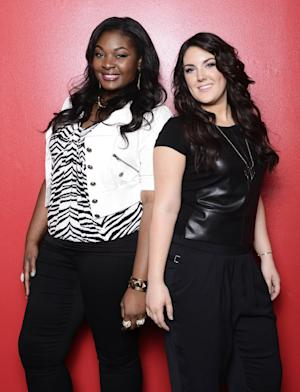 """This undated publicity photo released by Fox shows, Candice Glover, left, and Kree Harrison from """"American Idol: The Final 2.""""  The current 12th season is set to conclude Thursday, May 16, 2013, with a showdown between the 23-year-old R&B vocalist Glover of St. Helena Island, S.C., and the 22-year-old country crooner Harrison of Woodville, Texas. (AP Photo/Fox, Michael Becker)"""