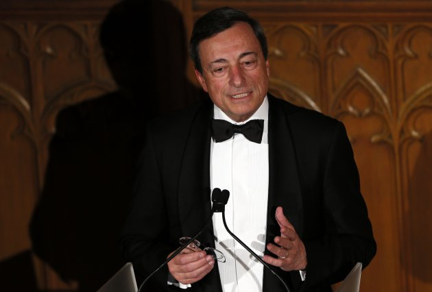 President of the European Central Bank Draghi delivers a speech on the future of Europe at the Guildhall in central London