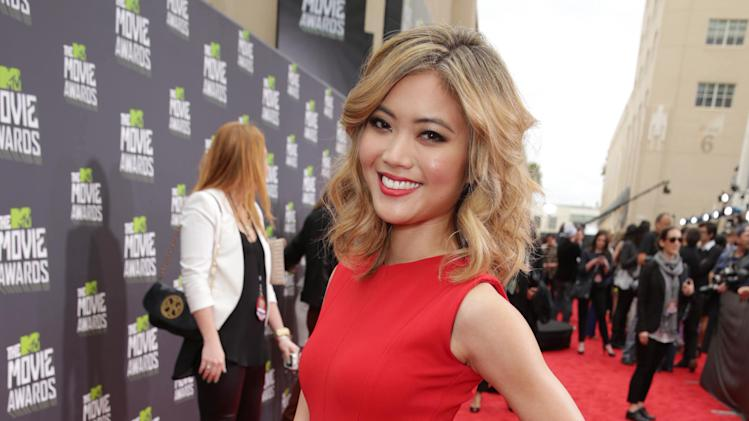 Jessica Lu arrives at the MTV Movie Awards in Sony Pictures Studio Lot in Culver City, Calif., on Sunday April 14, 2013.  (Photo by Eric Charbonneau/Invision for MTV/AP Images)