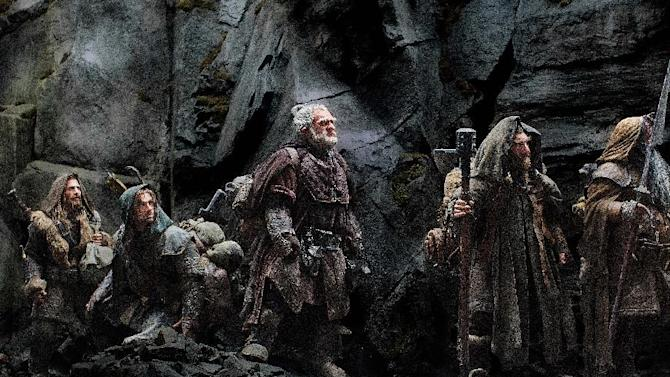"""FILE - This publicity film image released by Warner Bros., shows, from left: Dean O'Gorman as Fili; Aidan Turner as Kili; Mark Hadlow as Dori; Jed Brophy as Nori; and William Kircher as Bifur, in a scene from the fantasy adventure """"The Hobbit: An Unexpected Journey."""" Filmmaker Peter Jackson's decision to shoot his epic three-part J.R.R. Tolkien prequel in the super-clear format that boosts the number of frames per second to 48 from the current standard, 24, has some unintended consequences. (AP Photo/Warner Bros, File)"""