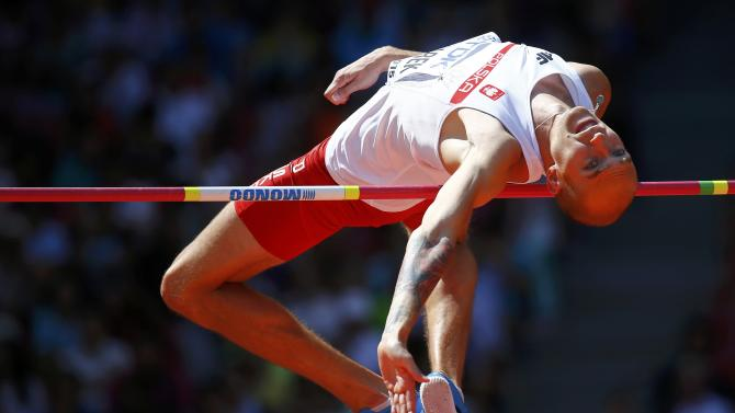 Bednarek of Poland competes in men's high jump qualification at 15th IAAF World Championships in Beijing