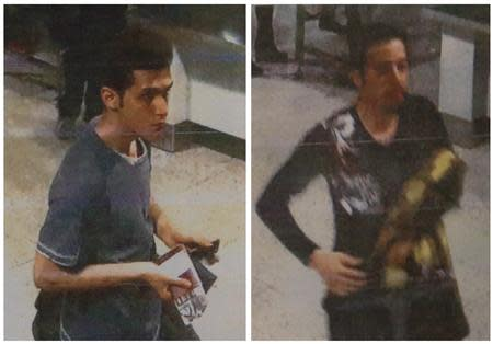 A combination photo shows two men whom police said were travelling on stolen passports onboard the missing Malaysia Airlines MH370 plane, taken before their departure at Kuala Lumpur International Airport