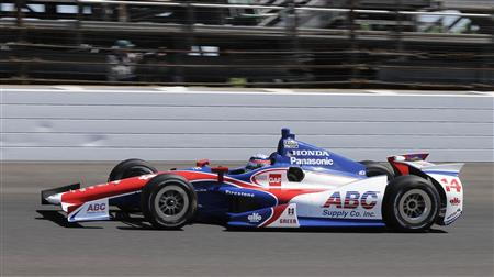Takuma Sato drives his car during the final practice for the Indianapolis 500 in Indianapolis.
