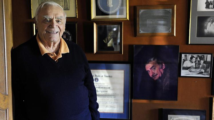 FILE - In this Oct. 26, 2010, file photo, actor Ernest Borgnine poses for a portrait at his home in Beverly Hills, Calif. A spokesman said Sunday, July 8, 2012, that Borgnine has died at the age of 95. (AP Photo/Chris Pizzello, File)