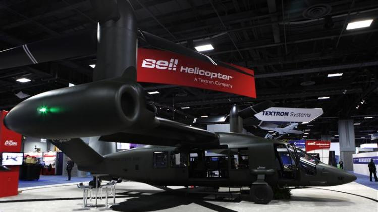 A full-sized representation of the Bell Helicopter V-280 Valor sits on display at the 2013 AUSA Annual Meeting and Exposition in Washington