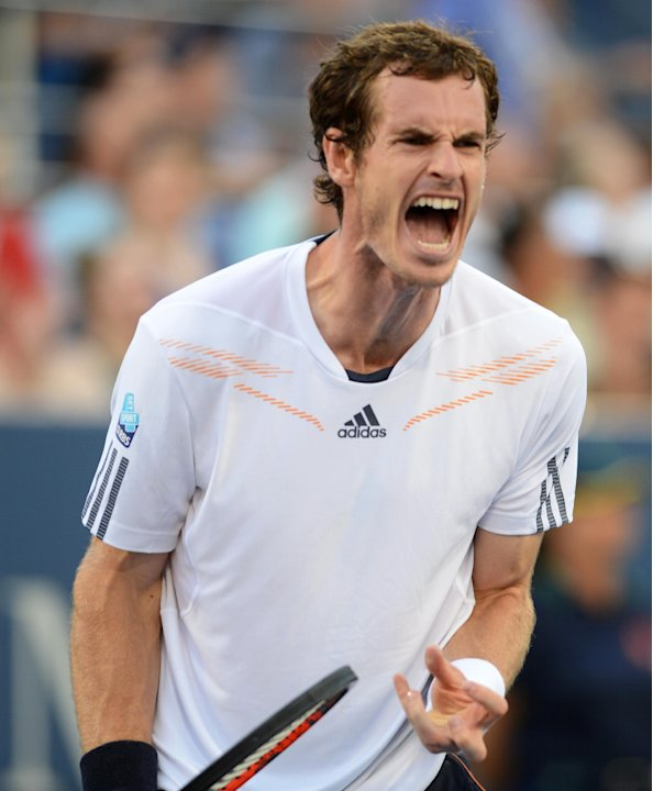 Andy Murray of Great Britain reacts while playing Marin Cilic of Croatia in the quarterfinals of the 2012 US Open tennis tournament, Wednesday, Sept. 5, 2012, in New York. (AP Photo/Henny Ray Abrams)