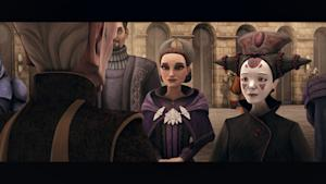 "Palpatine and Padme Amidala in the episode ""Crisis on Naboo"" from ""Star Wars: The Clone Wars."" Used with permission of Lucasfilm."