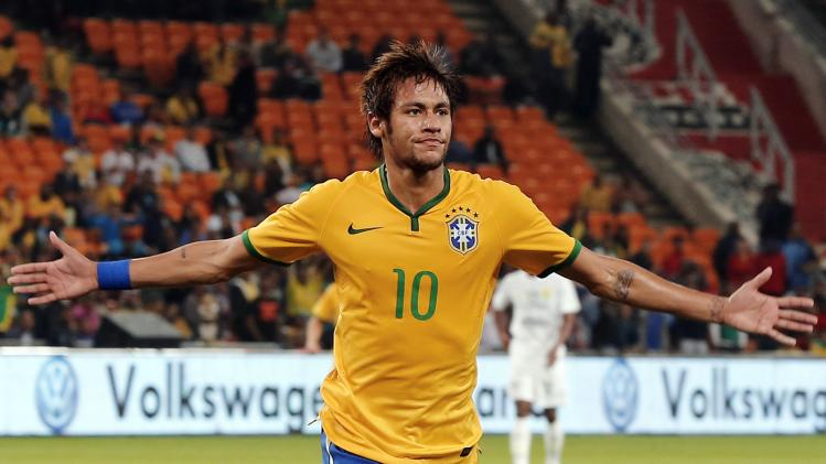 File photo shows Brazil's Neymar celebrating his goal against South Africa during their international friendly soccer match in Johannesburg