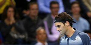 Switzerland's Federer reacts during his final match against Del Potro of Argentina at the Swiss Indoors ATP tennis tournament in Basel