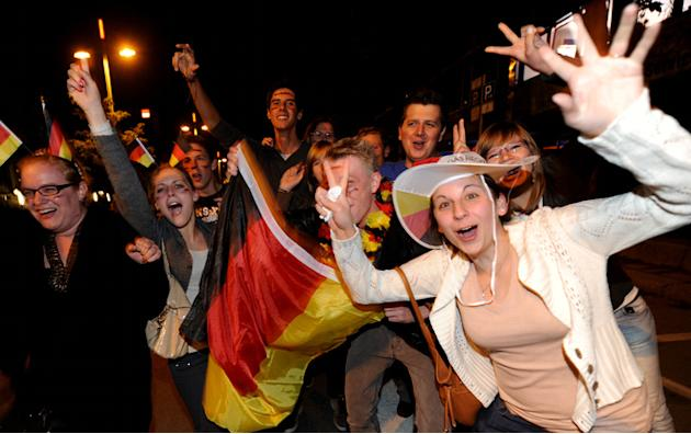 German Fans Celebrate On June 13, 2012 In Stuttgart, Southern Germany,  AFP PHOTO /  FRANZISKA KRAUFMANN +++ GERMANY AFP/Getty Images