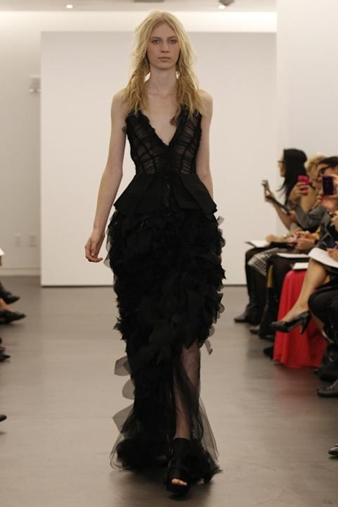 This long ruffled dress may work better on the red carpet.