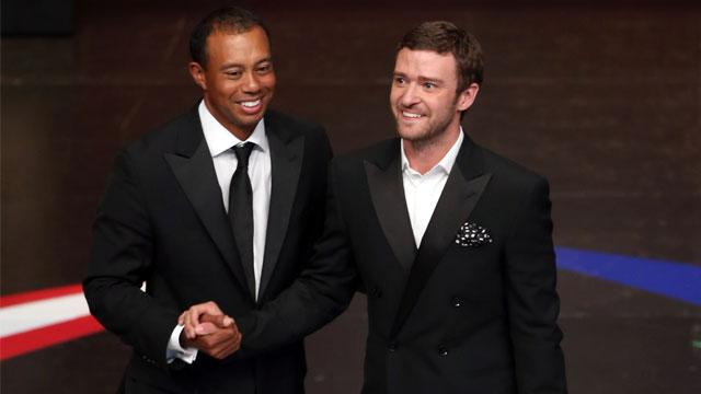 Justin Timberlake Shares Stage with Tiger Woods