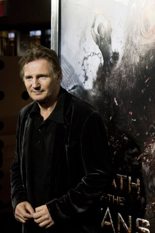 "Actor Liam Neeson attends the world premiere of ""Wrath of the Titans"" in New York, Monday, March 26, 2012. (AP Photo/Charles Sykes)"