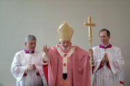 Pope Benedict XVI celebrates mass on December 16, 2012 during a visit to the San Patrizio al Colle Prenestino parish on the outskirts of Rome. The pope has weighed in on a heated debate over gay marriage, criticising new concepts of the traditional family and warning that in the fight for the family, mankind itself is at stake