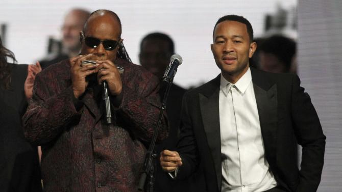 Wonder and John Legend perform during the 2015 Rock and Roll Hall of Fame Induction Ceremony in Cleveland