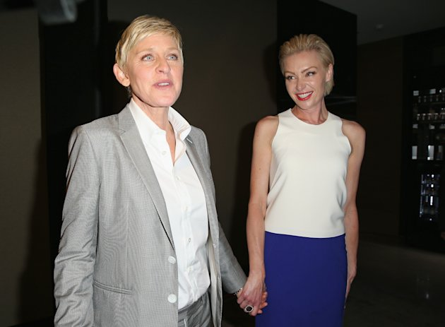 MELBOURNE, AUSTRALIA - MARCH 26: TV personality, Ellen DeGeneres and her wife Portia de Rossia arrive at a Ellen DeGeneres Welcome Party on March 26, 2013 in Melbourne, Australia. Ellen DeGeneres is in Australia to film segments for her TV show, 'Ellen'. (Photo by Scott Barbour/Getty Images)