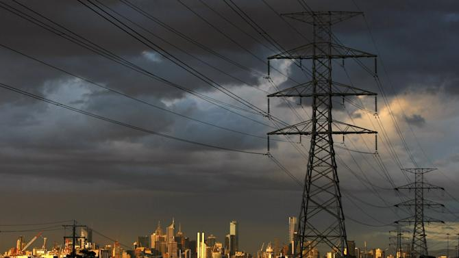 File photo of high voltage electrical transmission towers in Melbourne