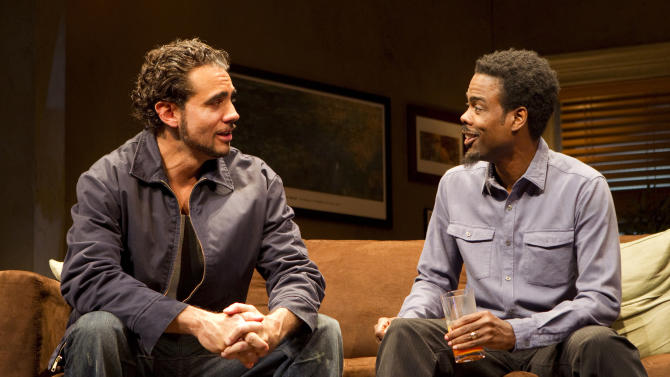 """In this theater publicity image released by Boneau/Bryan-Brown, Bobby Cannavale, left, and  Chris Rock are shown in a scene from, """"The Motherf----- With the Hat,"""" in New York. (AP Photo/Boneau/Bryan-Brown, Joan Marcus)"""