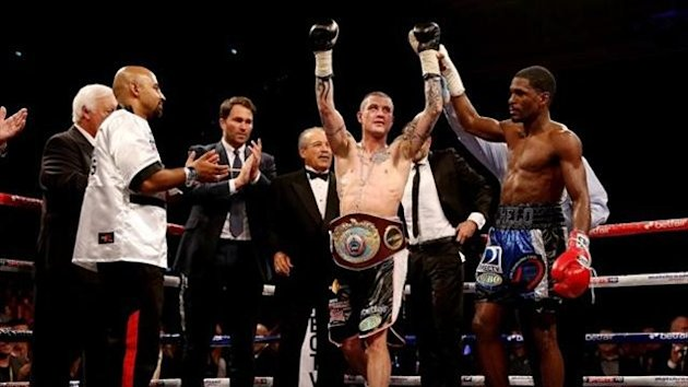 Ricky Burns celebrates his victory over Jose Gonzalez during their World WBO Lightweight Championship bout at Emirates Arena on May 11, 2013 in Glasgow, Scotland