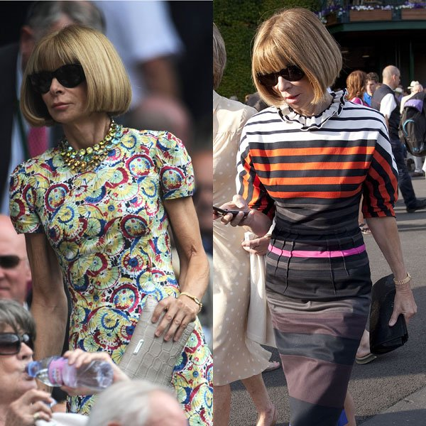 Anna Wintour at Wimbledon 2010 (left) and 2011 (right) © Rex