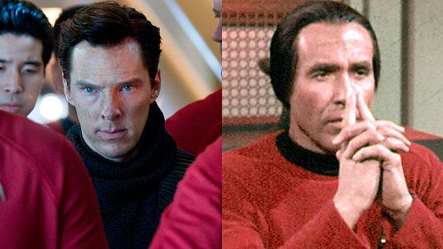 "Benedict Cumberbatch in ""Star Trek Into Darkness"" and Ricardo Montalban in the ""Star Trek"" episode, ""Space Seed."""