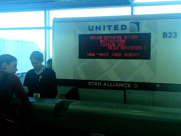 Tim Tebow cheated to win, there is proof United-Flight-Board-at-the-Denver-Airport