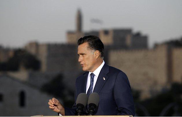 Republican presidential candidate and former Massachusetts Gov. Mitt Romney delivers a specch in Jerusalem, Sunday, July 29, 2012. (AP Photo/Charles Dharapak)