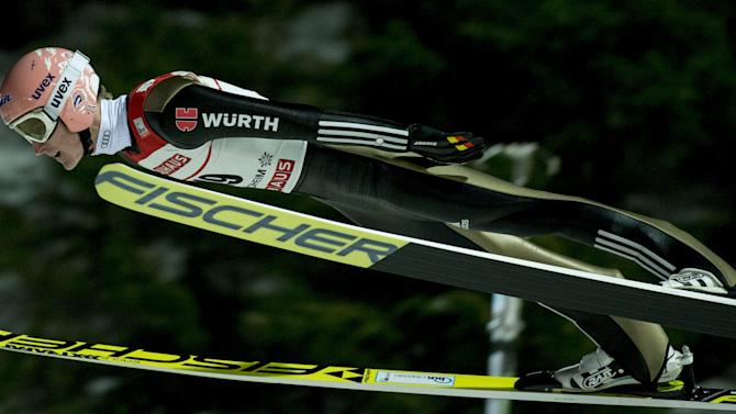 Severin Freund of Germany soars in the air during FIS Ski Jumping World Cup competition in Trondheim