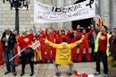 Iberia workers protest in front of Palau de la Generalitat during a strike in central Barcelona