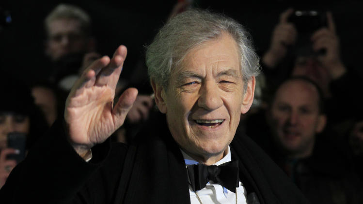 "In this Wednesday, Dec. 12, 2012 file photo, actor Ian McKellen arrives at the UK premiere of ""The Hobbit: An Unexpected Journey"" in London. McKellen and 27 Nobel laureates have written an open letter urging Russia's president to repeal an anti-gay law. The letter — published Tuesday Jan. 14 2014 by the Independent newspaper — comes in the run-up to the Sochi Olympics, which have been the focus of a backlash in the West regarding the law.(Photo by Joel Ryan/Invision/AP, File)"
