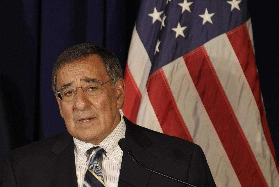 U.S. Defense Secretary Leon Panetta speaks at a news conference at AUSMIN 2011, a forum advancing the Australia-US alliance, in San Francisco, Thursday, Sept. 15, 2011. (AP Photo/Jeff Chiu)