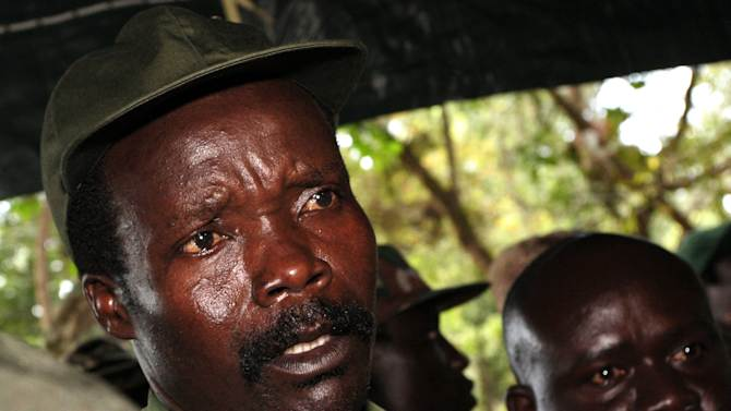 FILE - In this Nov. 12, 2006 file photo, the leader of the Lord's Resistance Army Joseph Kony answers journalists' questions following a meeting with UN humanitarian chief Jan Egeland at Ri-Kwangba in southern Sudan. Ugandan troops in the Central African Republic have killed a rebel commander known only as Binani who was the chief bodyguard of Joseph Kony, the fugitive head of the Lord's Resistance Army, a Ugandan army official said Monday, Jan. 21, 2013. (AP Photo/Stuart Price, File, Pool)