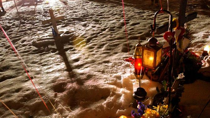 FILE- This Feb. 20, 2004, file photo, shows a makeshift memorial at the former site of The Station nightclub, marking the one-year anniversary of a fire that killed 100 people at the club in West Warwick, R.I.  Survivors and family members of the 100 people killed in a Rhode Island nightclub fire are observing the 10th anniversary of the blaze, which is Wednesday, Feb. 20, 2013, with a memorial service scheduled for Sunday. (AP Photo/Gretchen Ertl, Pool, File)