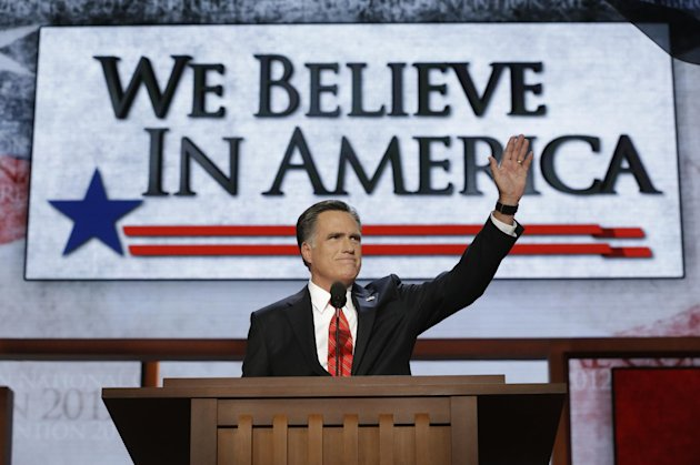 FILE - In this Aug. 30, 2012, file photo Republican presidential nominee Mitt Romney addresses the Republican National Convention in Tampa, Fla. When Romney stood up to accept the Republican nominatio