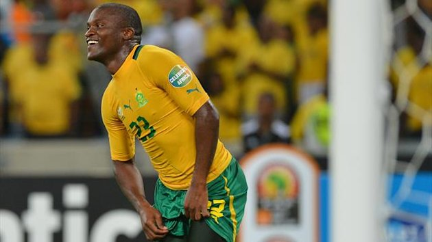 SOUTH AFRICA, Durban : South Africa's striker Tokelo Rantie celebrates after scoring a goal during the African Cup of Nation 2013 quarter final football match South-Africa vs Mali, on February 2, 2013 in Durban. AFP