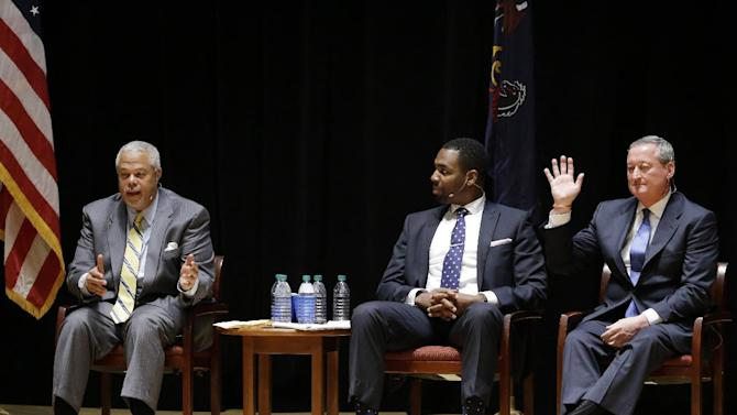 Democratic mayoral candidates, State Sen. Anthony Hardy Williams, left, Doug Oliver, center, and former City Councilman James Kenney take part in a debate, Monday, May 4, 2015, at Temple University in Philadelphia. The primary election is scheduled to take place on May 19. (AP Photo/Matt Rourke)