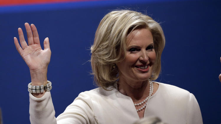 Ann Romney  waves to the audience before the first presidential debate at the University of Denver, Wednesday, Oct. 3, 2012, in Denver. (AP Photo/Charlie Neibergall)