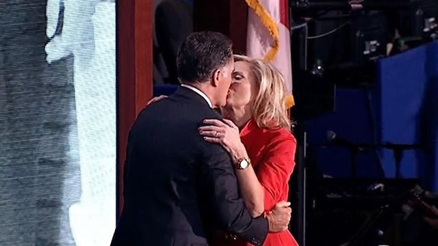 Mitt Romney embraces Ann after her GOP convention speech