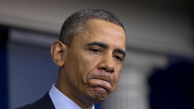 President Barack Obama pause as he speaks to reporters in the White House briefing room in Washington, Friday, March 1, 2013, following a meeting with congressional leaders regarding the automatic spending cuts. (AP Photo/Carolyn Kaster)