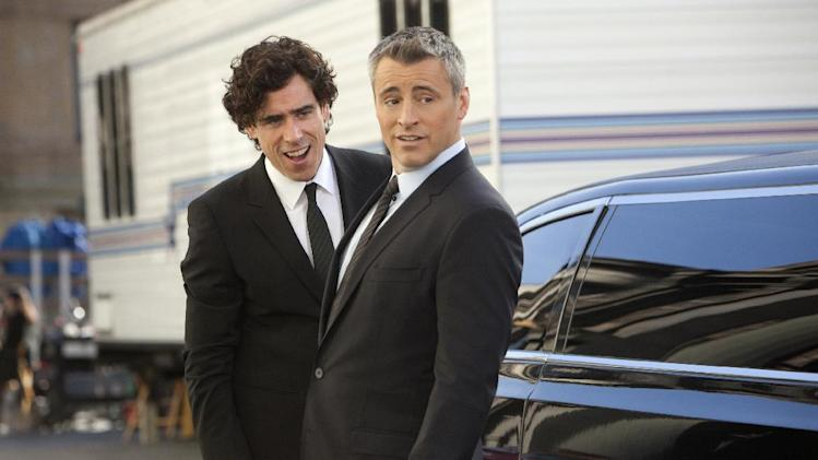 "This image released by Showtime shows actors Stephen Mangan as Sean Lincoln, left, and Matt LeBlanc as himself in a scene from the second season of ""Episodes.""  The second season premieres Sunday, July 1, 2012 at 10:30 p.m. EST on Showtime. (AP Photo/Showtime, Jordin Althaus)"