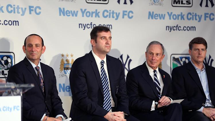 IMAGE DISTRIBUTED FOR MANCHESTER CITY FC - From Left, Don Garber, Ferran Soriano, CEO of Manchester City FC, and Mayor Bloomberg seen at a press conference launching a new football club, New York City FC, on Wednesday, May 22, 2013 in New York City, New York. Manchester City FC and baseball giants the New York Yankees are joining to found the new club. (Sharon Latham/Manchester City FC via AP Images)