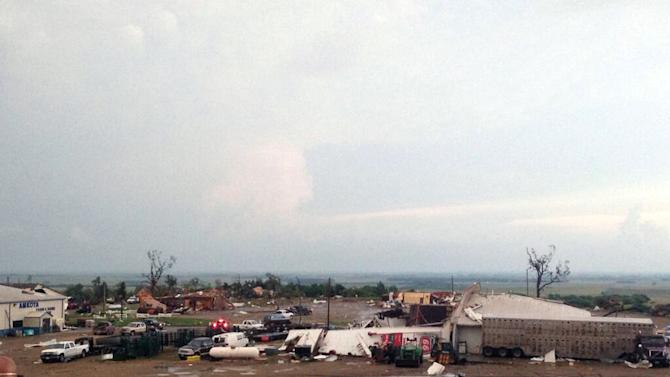 damaged buildings in Wessington Springs, S.D., on Wednesday