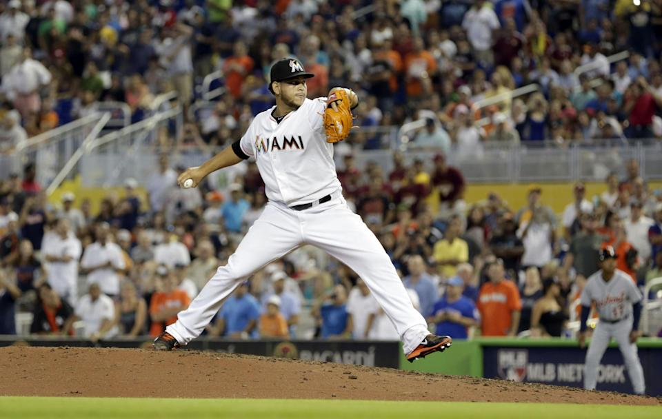 Miami Marlins' Henderson Alvarez pitches against the Detroit Tigers in the ninth inning of an interleague baseball game on Sunday, Sept. 29, 2013, in Miami. Alvarez pitched a no-hitter as the Marlins won 1-0