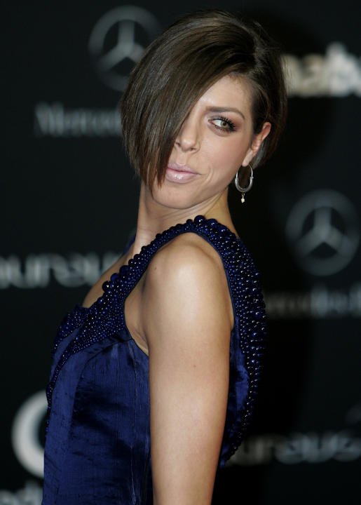 Croatian high jumper Blanka Vlasic arrives for the Laureus Awards in Abu Dhabi, United Arab Emirates, Monday, Feb. 7, 2011. (AP Photo/Nousha Salimi)