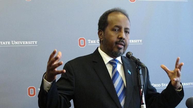 Somali President Hassan Sheikh Mohamud discusses security and political issues in Somalia, during a question and answer session after a speech on Monday, Sept. 23, 2013, in Columbus, Ohio. Mohamud says maintaining security is his government's top goal. (AP Photo/Andrew Welsh-Huggins)